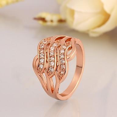 Anéis Casamento / Pesta / Diário Jóias Zircão / Chapeado Dourado Anéis Statement 1pç,7 / 8 Dourado