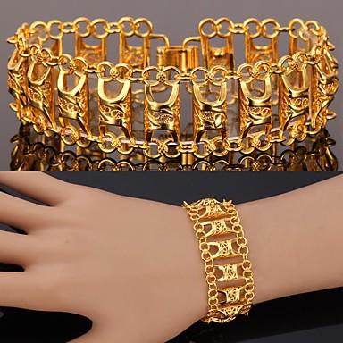 Mulheres Pulseiras em Correntes e Ligações Bracelete Pedaço de Platina Chapeado Dourado Liga Jóias Presentes de Natal Casamento Festa