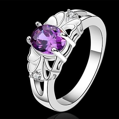 Kadın's Kristal Bildiri Yüzüğü - Som Gümüş 7 / 8 Mor Uyumluluk Düğün / Parti / Günlük