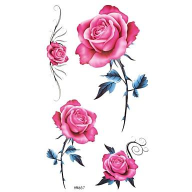Tatoeagestickers Bloemen Series Non Toxic Waterproof Baby Kind Dames Girl Heren Volwassene Boy Tiener Tijdelijke tatoeageTijdelijke