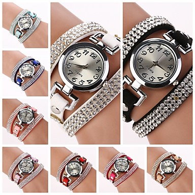 Damen damas Armband-Uhr Quartz Armbanduhren für den Alltag Leder Band Charme Freizeit Schwarz - Hellblau Hellbraun Dunkelbraun