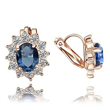 Kadın's Kristal Klipsli Küpeler - Kristal, Zirkon, Kübik Zirconia Çiçek Kırmzı / Mavi Uyumluluk Düğün Parti Günlük / Altın Kaplama