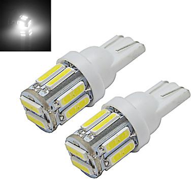 2 шт. 1 Вт T10 светодиодные w5w автомобиль лампы клин карта свет лампы 10 светодиодов smd 7020 холодный белый dc 12 В
