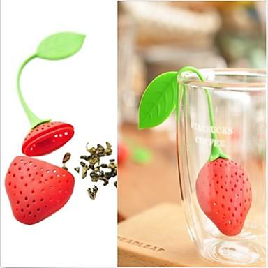 yeni silikon çilek tasarımı çay yaprağı süzgeç 1pc, mutfak aleti
