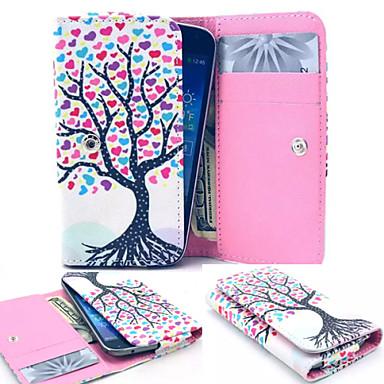 couro árvore estilo colorido carteira de corpo inteiro caso e slot para cartão de samsung tamanho móvel