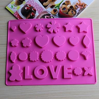 καλούπια bakeware ψησίματος αγάπη σιλικόνης για τη σοκολάτα (τυχαία χρώματα)