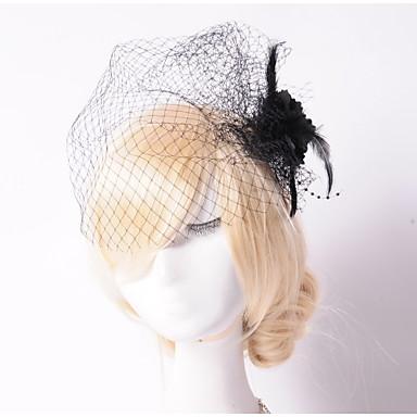 Vrouwen Tule Net Helm-Bruiloft Speciale gelegenheden Buiten Fascinators Bloemen Net Sluier 1 Stuk
