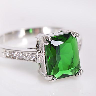Dames Zirkonia Kubieke Zirkonia Gesimuleerde diamant Statement Ring - Vierkant Geometrische vorm Modieus Groen Ring Voor Bruiloft Feest