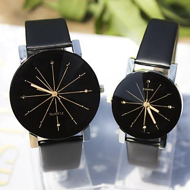 Casal Relógio Elegante Relógio de Pulso Quartzo imitação de diamante Couro Banda Pendente Preta Preto
