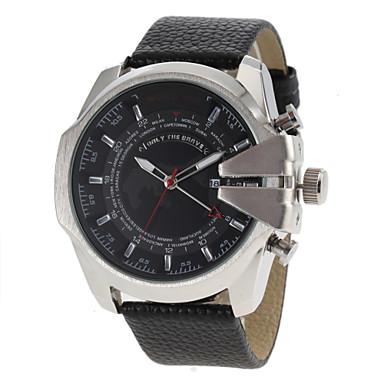 JUBAOLI Masculino Relógio Militar Relógio de Moda Quartzo Couro Banda Preto
