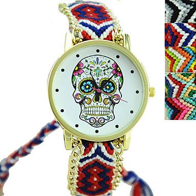 Mulheres Quartzo Relógio de Pulso Relógio de Moda Relógio Casual Tecido Banda Amuleto Caveira Preta Cores Múltiplas