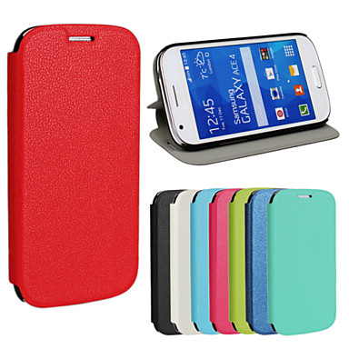 Voor Samsung Galaxy hoesje met standaard / Flip hoesje Volledige behuizing hoesje Effen kleur PU-leer Samsung Ace 4