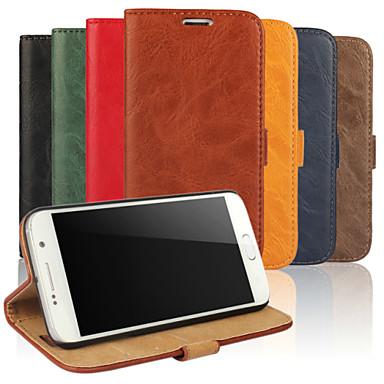 Para Samsung Galaxy Capinhas Porta-Cartão / Carteira / Com Suporte / Flip Capinha Corpo Inteiro Capinha Cor Única Couro PU Samsung S6