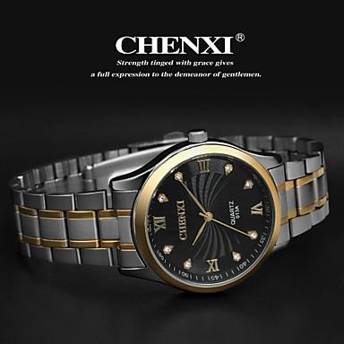 levne Pánské-CHENXI® Pánské Náramkové hodinky Křemenný Nerez Stříbro Analogové Přívěšky Klasické - Zlatá Bílá Černá