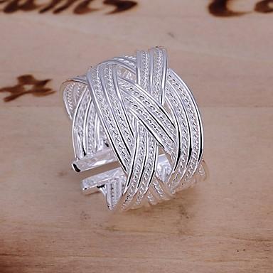 Kadın's Bildiri Yüzüğü - Gümüş Kaplama Halk Stili Ayarlanabilir Gümüş Uyumluluk Düğün / Parti / Günlük