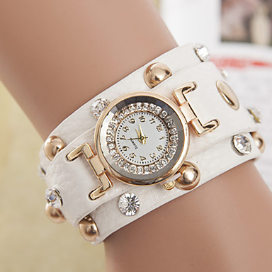 yoonheel Mulheres Relógio de Moda Bracele Relógio Quartzo Couro Banda Boêmio Preta Branco Branco Preto