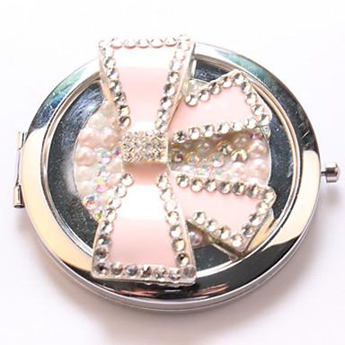 roze strik pocket make-up spiegel cosmetische kant draagbare miroir espelho espejo de maquiagem bolso maquillaje bling