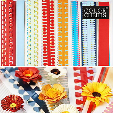 40pcs 51 εκατοστών πολλαπλών σχημάτων quilling χαρτί που διαφορετικά λουλούδι πέταλο δημιουργική DIY origami χαρτί έλασης (σετ 5pcsx8)