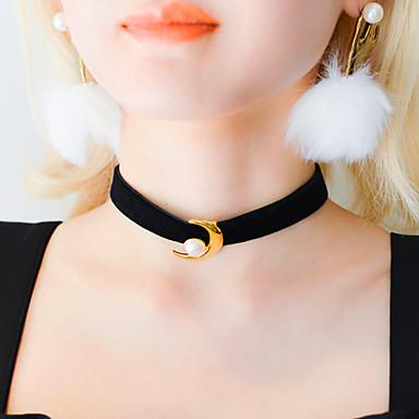 billige Mode Halskæde-Dame Kort halskæde Tatovering Choker Perle Læder MOON Tatovering Skærmfarve Halskæder Smykker Til