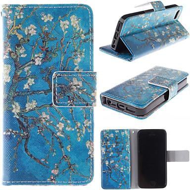 o caso de corpo inteiro projeto velho da flor da árvore de couro pu com slot para cartão para o iphone 5 / 5s