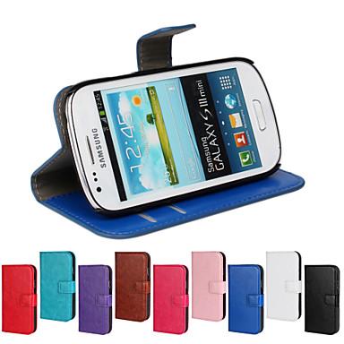 Para Samsung Galaxy Capinhas Carteira / Porta-Cartão / Com Suporte / Flip Capinha Corpo Inteiro Capinha Cor Única Couro PU Samsung S3 Mini
