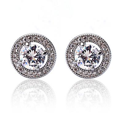 Mulheres Brincos Curtos Brincos Compridos Cristal Luxo Pedras dos signos Fashion Cobre Strass Formato Circular Forma Geométrica Jóias