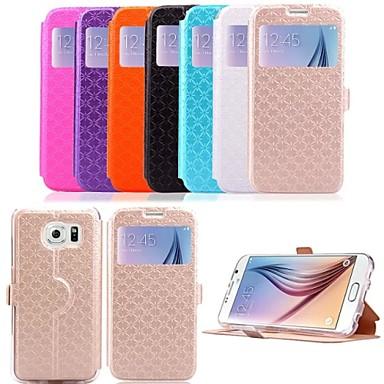 Για Samsung Galaxy Θήκη με βάση στήριξης / με παράθυρο tok Πλήρης κάλυψη tok Γεωμετρικά σχήματα Συνθετικό δέρμα Samsung S6 edge / S6