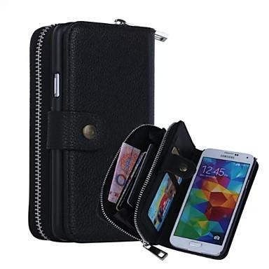 Para Samsung Galaxy Capinhas Porta-Cartão / Carteira / Magnética Capinha Corpo Inteiro Capinha Cor Única Couro Legitimo Samsung S5