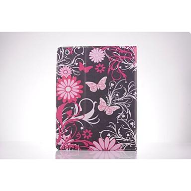 roze vlinder pu leer full body TPU geval is met kaarthouder voor iPad 2 / iPad 3 / iPad 4