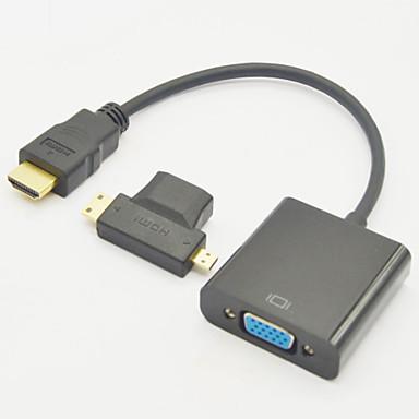 billige Kabler og adaptere-3-I-1 Hdmi Hun Til Mini Hdmi Mandlige Og Til Mikro Hdmi Mandlige Adapter + Hdmi V1.3 Til Vga M / F Kabel