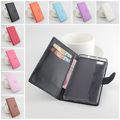 Voor Huawei hoesje Portemonnee / Kaarthouder / met standaard / Flip / Magnetisch hoesje Volledige behuizing hoesje Effen kleur Hard