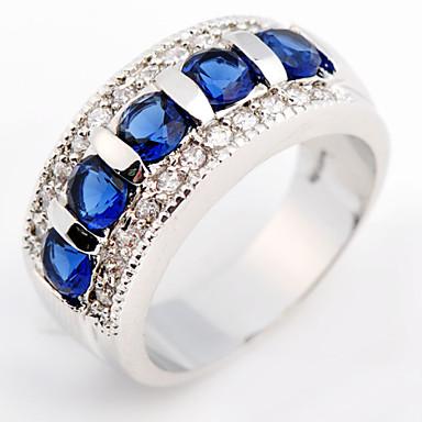 Anéis Casamento / Pesta / Diário / Casual / Esportes Jóias Zircão / Gema Feminino Anéis Grossos 1pç,6 / 7 / 8 / 9 Amarelo / Azul