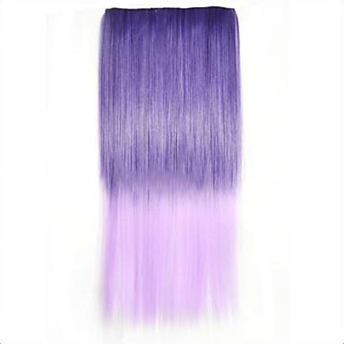 cor misturada pedaço cabelos lisos fibra de alta temperatura extensão do cabelo sintético
