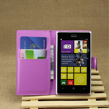 hoesje Voor Nokia Lumia 925 / Nokia Nokia hoesje Portemonnee / Kaarthouder / met standaard Volledig hoesje Effen Hard PU-nahka voor