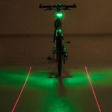 Fietsverlichting LED-Lampen Achterlicht fiets Laser LED - Wielrennen Kleurveranderend Waarschuwing Laser LED Lamp AAA 400 Lumens Batterij