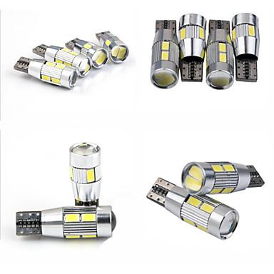 Teso t10 4w dc 11-13 v 10st 5630/5730 smd led canbus 6000-6500K breed lamp, leeslamp, auto kenteken lamp