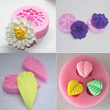 σετ 4 bakeware μούχλα φοντάν καλούπι σιλικόνης τούρτα διακόσμηση (τυχαία χρώμα)