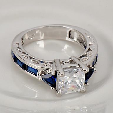 Anéis Casamento / Pesta / Diário / Casual / Esportes Jóias Zircão / Gema Feminino Anéis Grossos 1pç,6 / 7 / 8 / 9 / 10 Azul / Verde