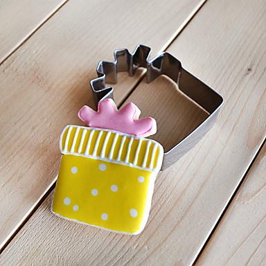 corte de presente da forma caixa de cortadores de biscoito fruta moldes de aço inoxidável