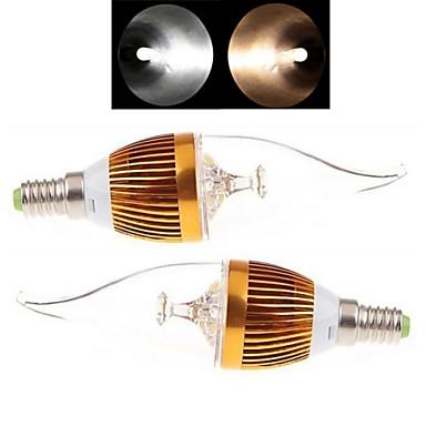 E14 Luzes de LED em Vela 3LED leds COB Branco Quente Branco Frio 150-250lm 2800-3500/6000-6500K AC 85-265V