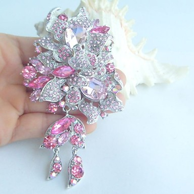 γυναικεία αξεσουάρ ασήμι-Ήχος ροζ στρας κρύσταλλο deco καρφίτσα λουλούδι καρφίτσα art γυναίκες μπουκέτο κοσμήματα
