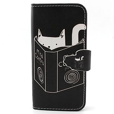 cat lezen patroon pu lederen tas met kaartslot en staan voor Samsung Galaxy S4 mini / s3mini / s5mini / S3 / S4 / S5 / s6 / s6edge