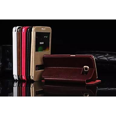 Capinha Para Samsung Galaxy Samsung Galaxy Capinhas Com Suporte com Visor Capa Proteção Completa Côr Sólida PU Leather para S7 edge S7 S6