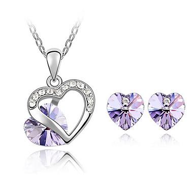 Mulheres Cristal Cristal Austríaco Conjunto de jóias Brincos Colares - Fofo Festa Amor Fashion Conjunto de Jóias Para Festa Ocasião