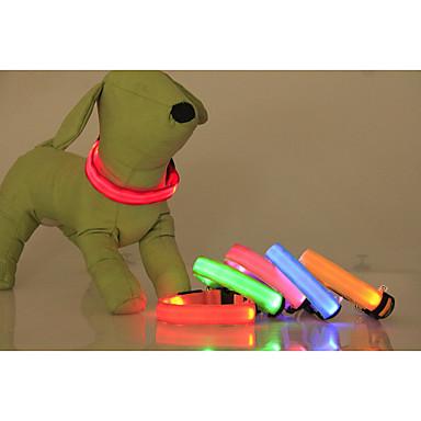 Cachorro Colarinho Luzes LED Retratável Sólido Náilon Amarelo Vermelho Verde Azul Rosa claro