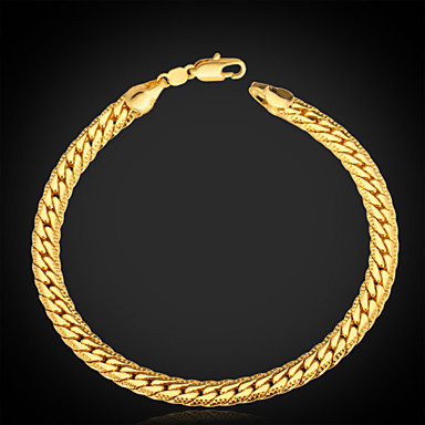 Men's Chain Bracelet Bracelet Vintage Bracelet Personalized Classic Fashion Platinum Plated Gold Plated Gold Filled Alloy Circle Jewelry