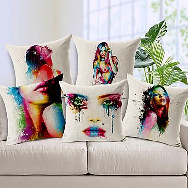 conjunto de 5 a pintura corporal colorido flor de algodão / linho capa de travesseiro decorativo