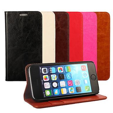 tok Για Apple iPhone X / iPhone 8 / iPhone 7 Πορτοφόλι / Θήκη καρτών / με βάση στήριξης Πλήρης Θήκη Μονόχρωμο Σκληρή γνήσιο δέρμα για iPhone X / iPhone 8 Plus / iPhone 8