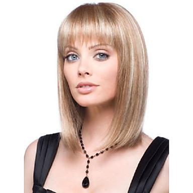 Συνθετικές Περούκες Ίσιο Γυναικεία Χωρίς κάλυμμα Φυσική περούκα Κοντό Συνθετικά μαλλιά
