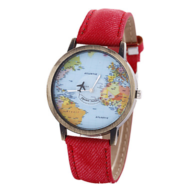 Women's Quartz Bracelet Watch World Map Pattern PU Band Vintage Fashion Black White Blue Red Brown Khaki